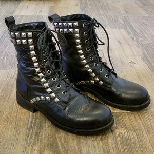"FRYE Rogan Studded Lace 8"" Boot, Sz 8M, Black"